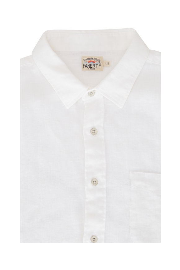 Faherty Brand Laguna White Linen Sport Shirt