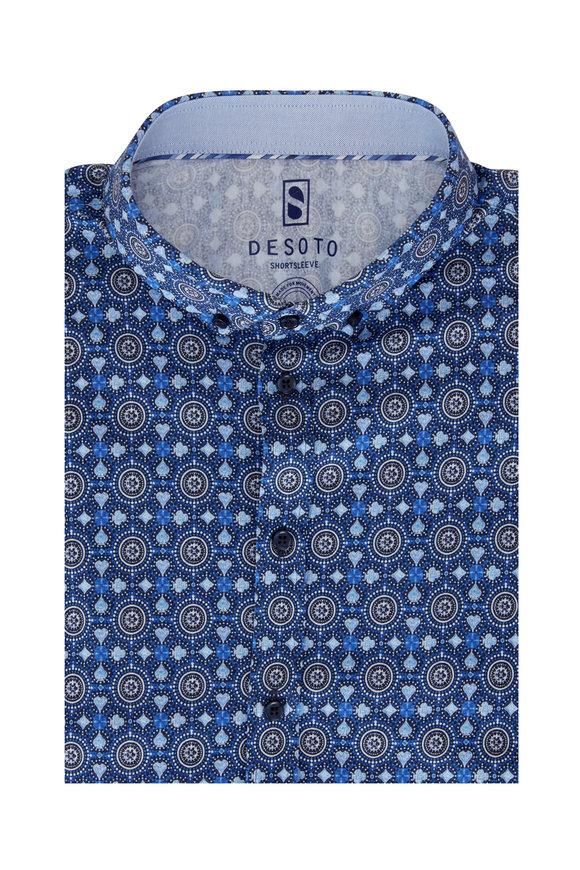 Desoto Blue & Gray Print Short Sleeve Sport Shirt