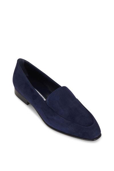 Manolo Blahnik - Pitaka Navy Suede Flat Loafer