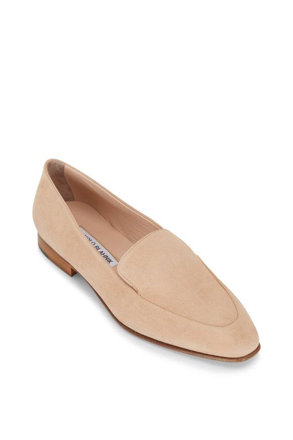 Manolo Blahnik Pitaka Dark Nude Suede Flat Loafer
