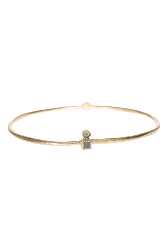 Rose Gold Diamond Cube Bangle Bracelet