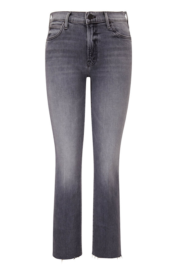 Mother Denim The Rascal Gray Ankle Fray Jean