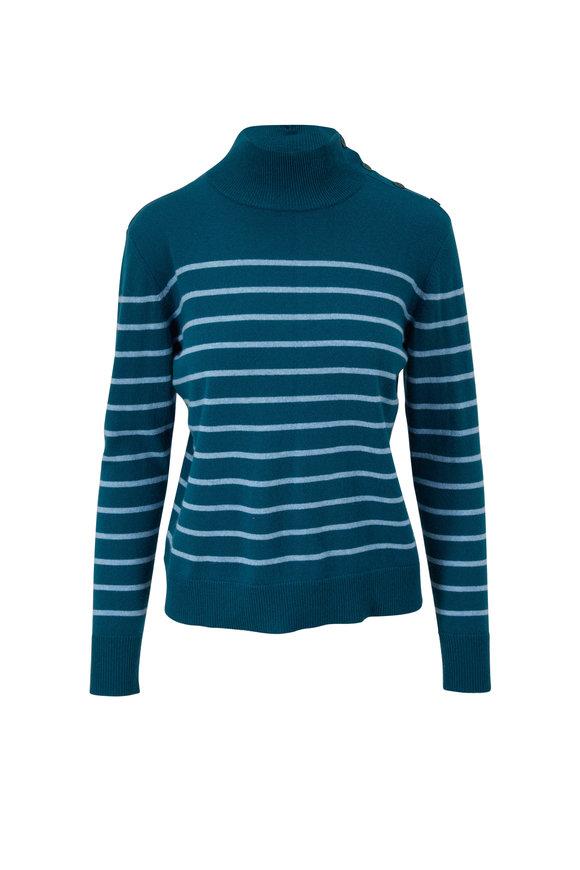 Kinross Juniper & Waterfall Stripe Cashmere Sweater
