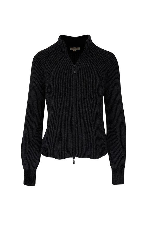 Kinross Charcoal & Black Cashmere Plaited Zip Cardigan