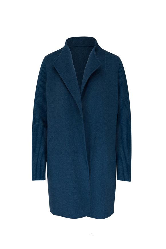 Kinross Blue Spruce Wool & Cashmere Ribbed Sleeve Coat