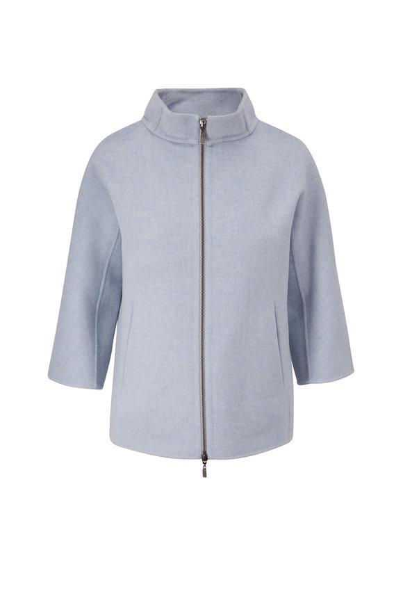 Kinross Haze Wool & Cashmere Zip Mock Neck Coat