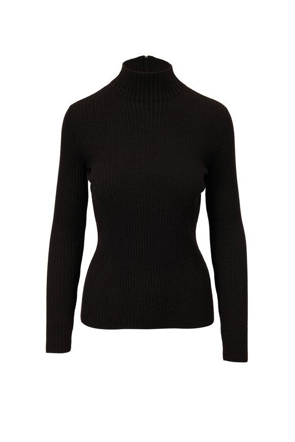 Akris Punto Black Wool Mock Neck Sweater