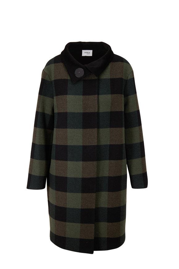 Akris Punto Black & Olive Checker Coat