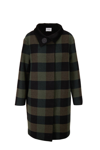 Akris Punto - Black & Olive Checker Coat