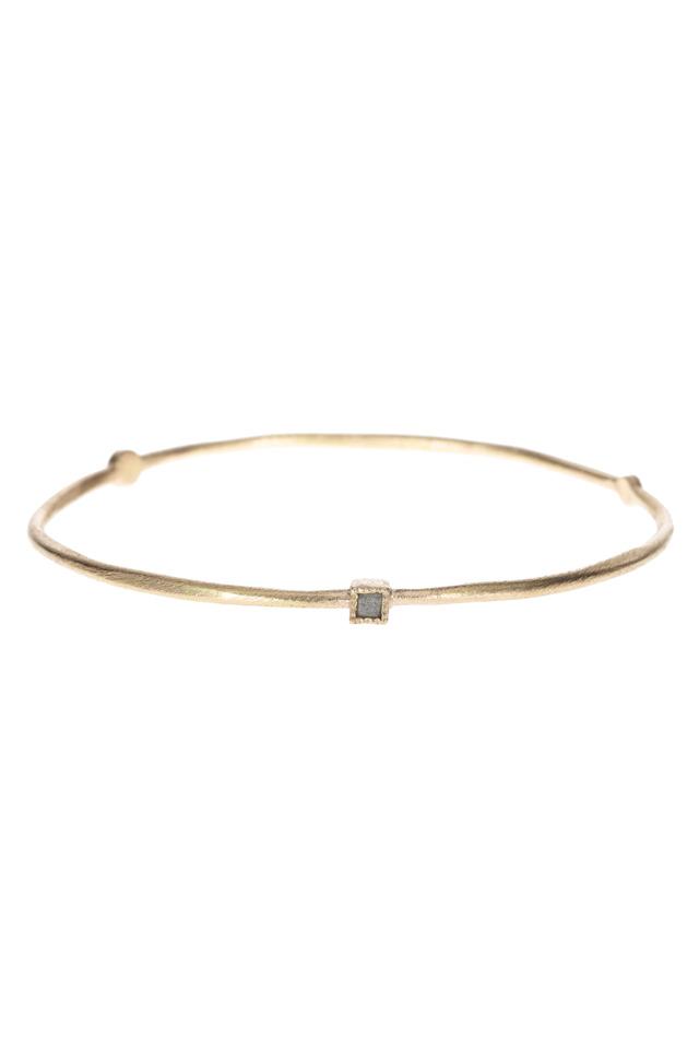 Rose Gold Diamond Cube Bangle Bracelet