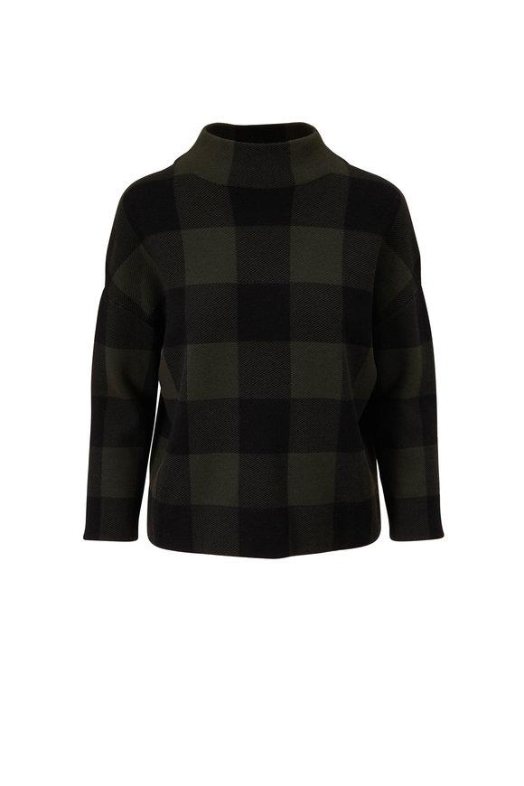 Akris Punto Black & Olive Check Funnel Neck Sweater