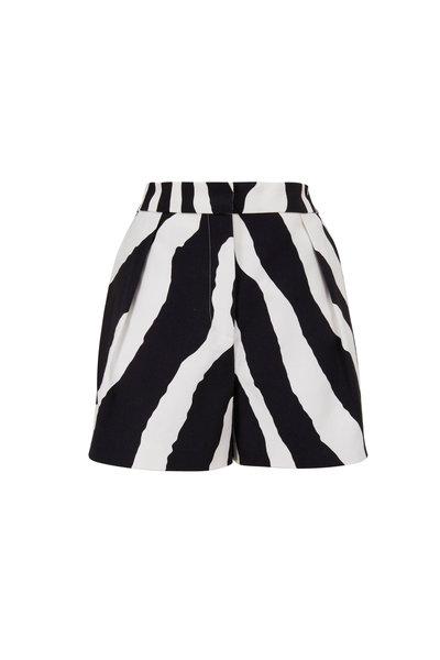 Carolina Herrera - Zebra Print Wide Leg High-Rise Shorts
