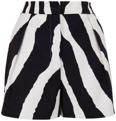 Carolina Herrera Zebra Print Wide Leg High-Rise Shorts