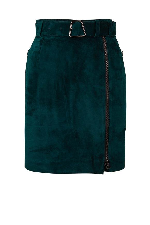 Akris Green Suede Midi Skirt