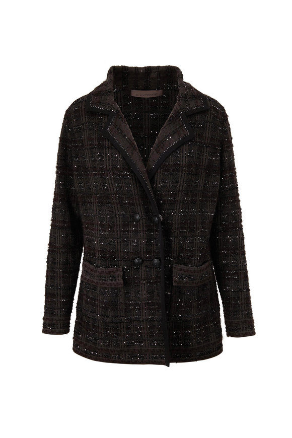 D.Exterior Forest Green Double-Breasted Tweed Jacket