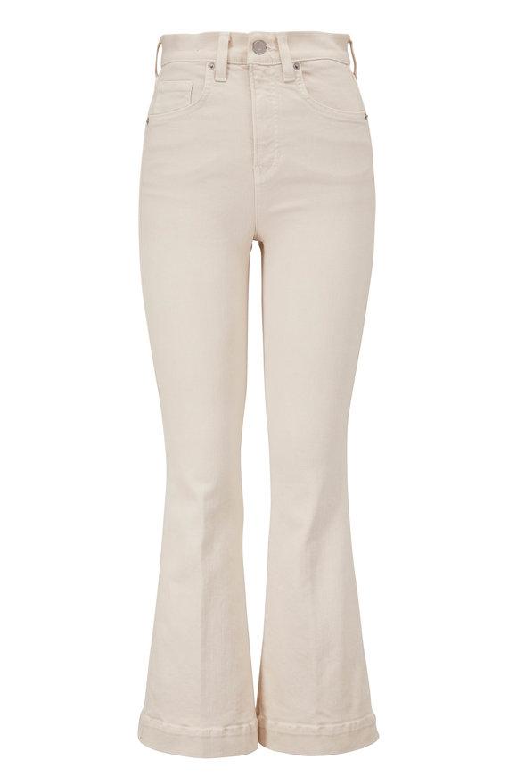 Veronica Beard Carson Ecru High-Rise Ankle Flare Jean