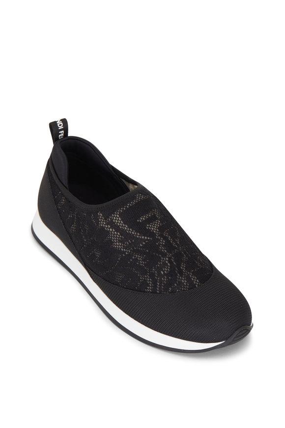 Fendi Black & Brown Vertigo FF Mesh Slip On Sneaker