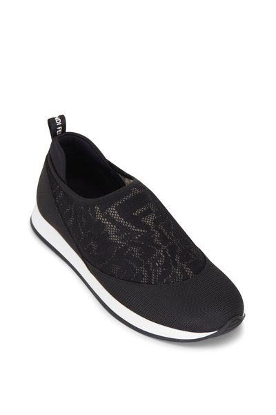 Fendi - Black & Brown Vertigo FF Mesh Slip On Sneaker