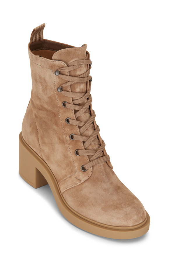 Gianvito Rossi Foster Camel Suede Block Heel Lace Up Boot, 45mm