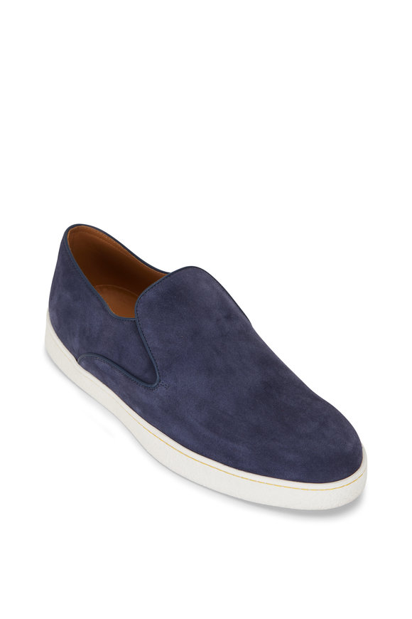 John Lobb Haven Navy Suede Slip On Sneaker