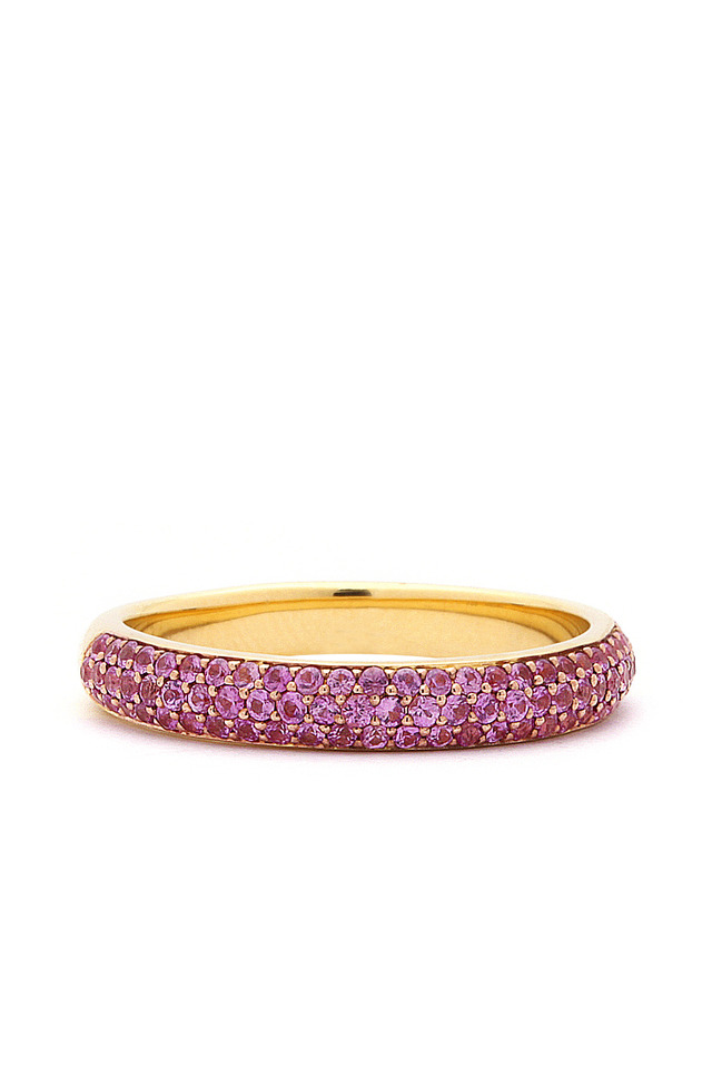 Pink Sapphire Gold Stacking Band