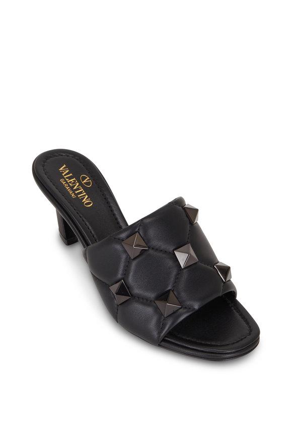 Valentino Garavani Roman Stud Black Quilted Leather Mule, 65mm