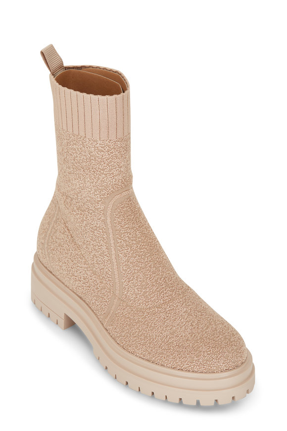 Gianvito Rossi Torrance Nude Knit Pull On Lug Sole Bootie