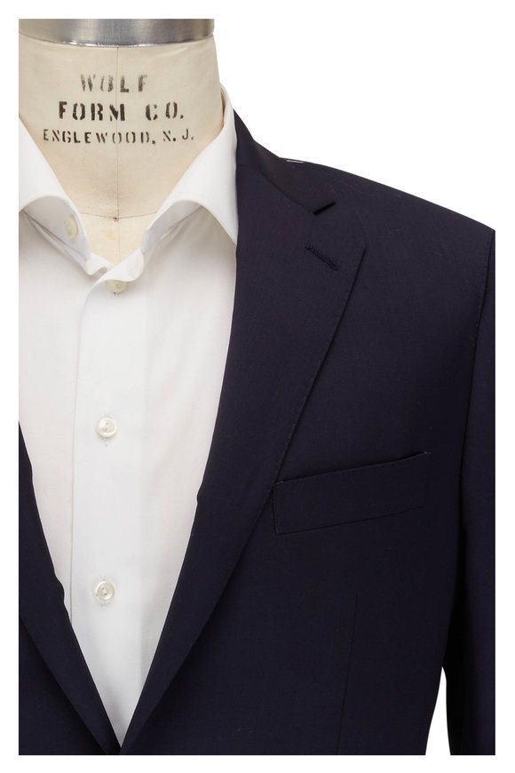Atelier Munro Solid Navy Stretch Wool Suit