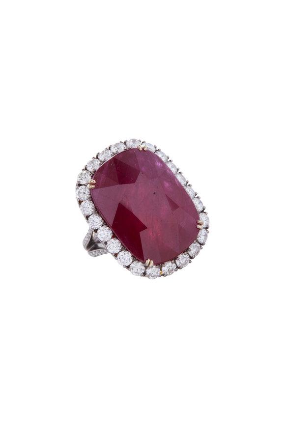 Fred Leighton Cushion Ruby & Diamond Ring