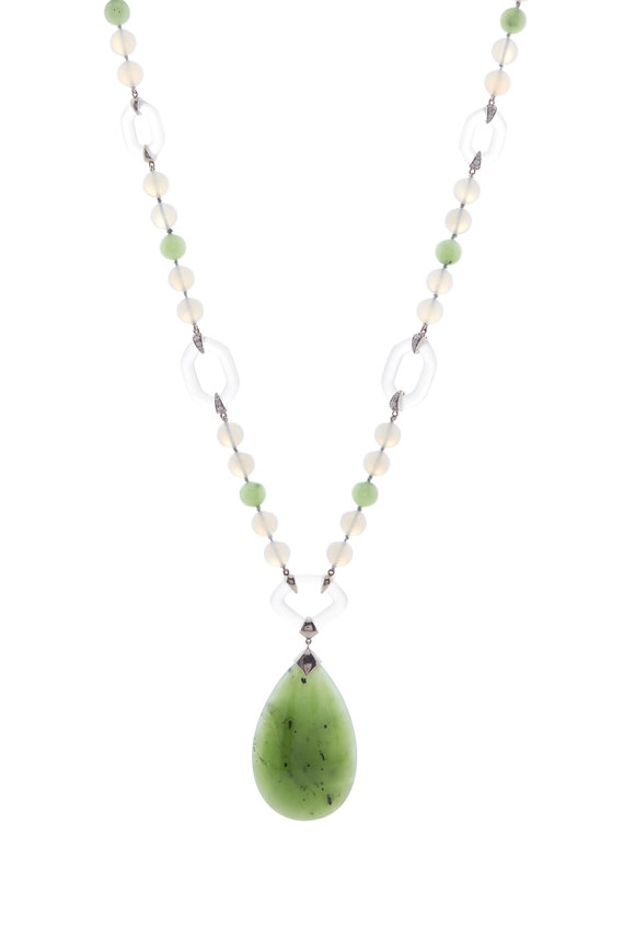 Fred Leighton Green Nephrite & Gray Chalcedony Necklace