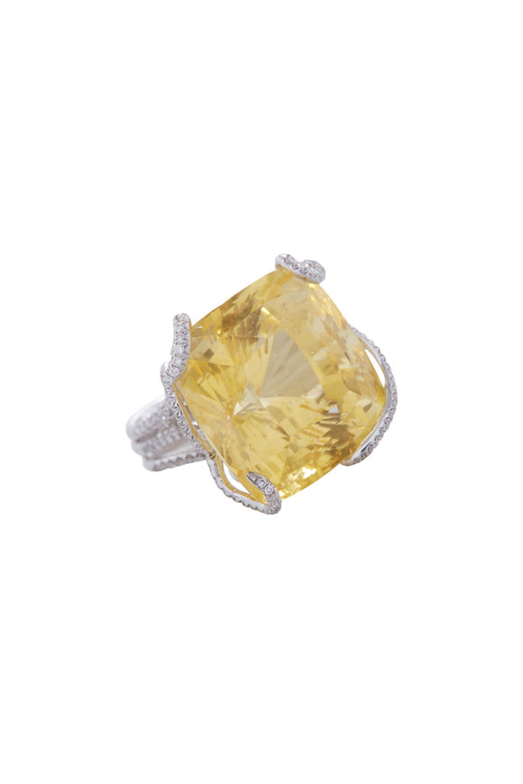 Fred Leighton Natural Yellow Sapphire Cocktail Ring