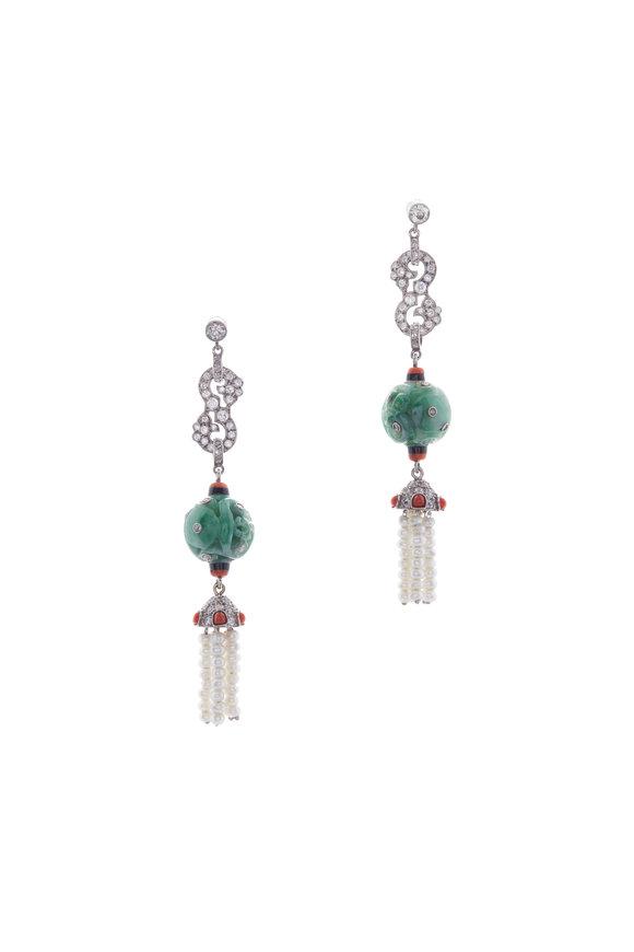 Fred Leighton Jade, Diamond & Pearl Earrings
