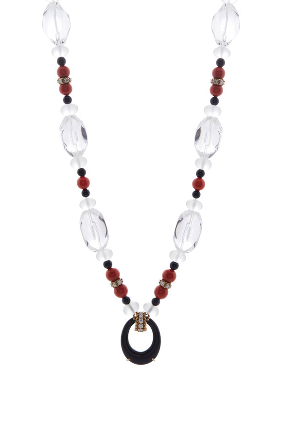 Fred Leighton Rock Crystal, Coral & Diamond Necklace