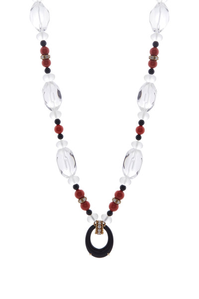 Fred Leighton - Rock Crystal, Coral & Diamond Necklace