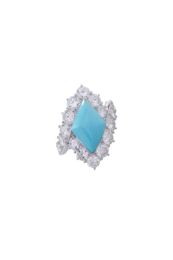 Fred Leighton Bulgari Turquoise & Diamond Cocktail Ring