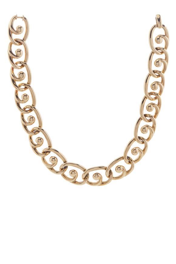 David Webb Polished Yellow Gold Choker Necklace