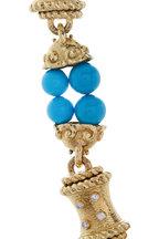 David Webb - Hammered Yellow Gold Turquoise & Diamond Necklace