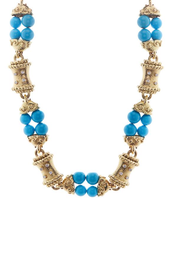 David Webb Hammered Yellow Gold Turquoise & Diamond Necklace