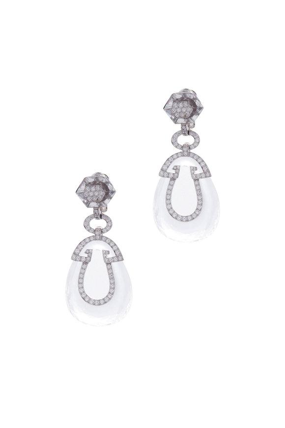 David Webb Diamond & Rock Crystal Midnight Earrings