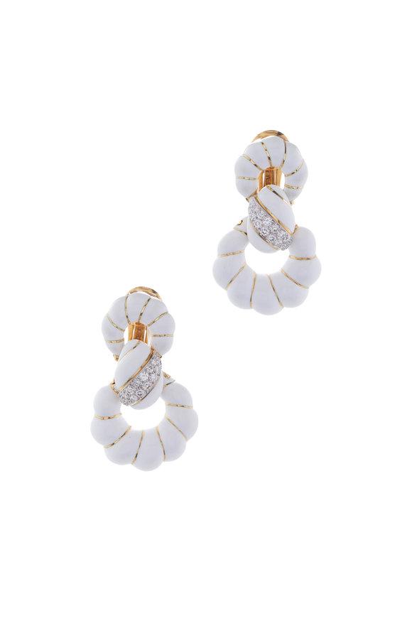 David Webb White Enamel & Diamond Earrings