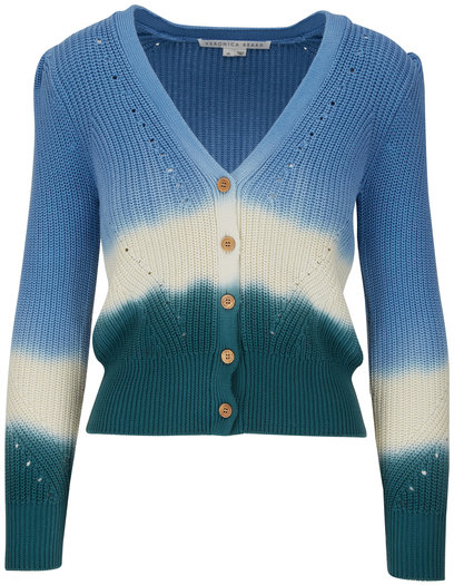 Veronica Beard Parula Blue Tie-Dye Cardigan