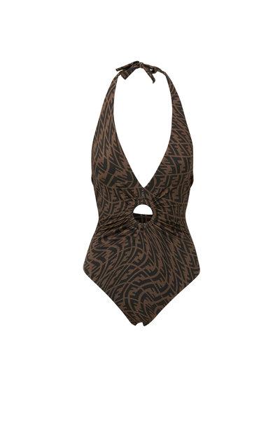 Fendi - Black FF Vertigo Halter Bathing Suit