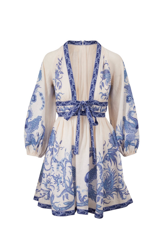 Zimmermann Aliane Blue & White Mini Dress