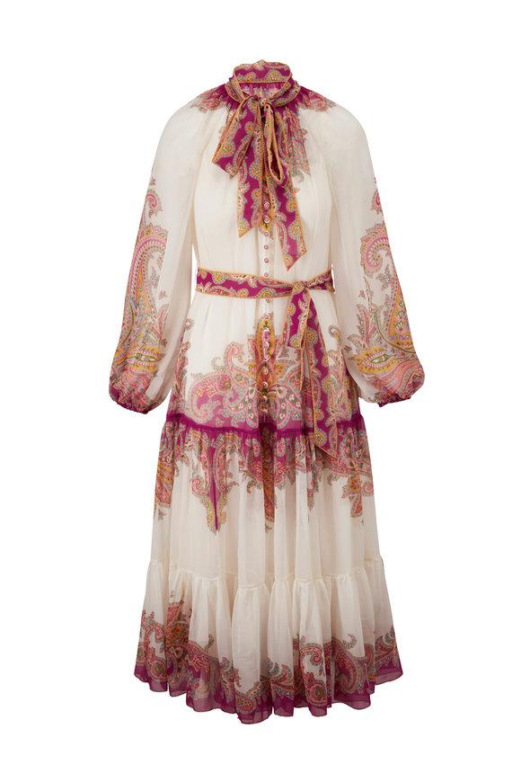 Zimmermann Teddy Pink & Ivory Tiered Dress