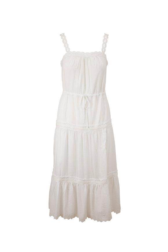 PAIGE Amity White Embroidered Midi Dress