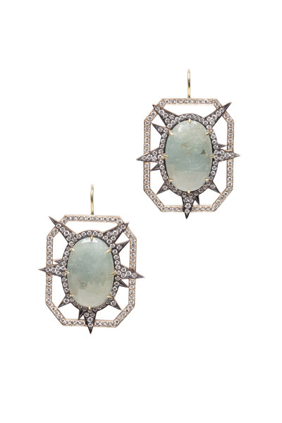 Sylva & Cie - Yellow Gold Green Sapphire & Diamond Earrings