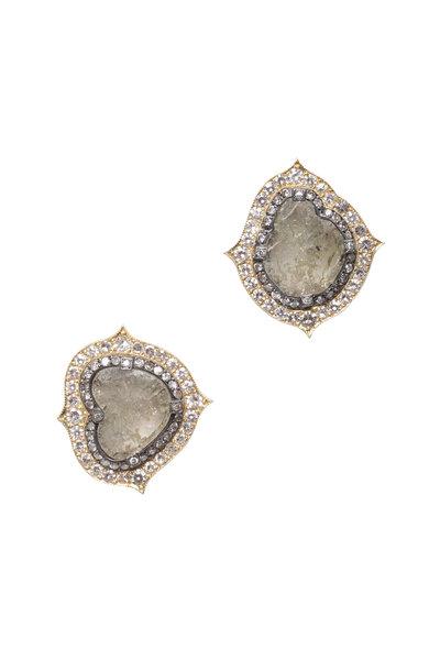 Sylva & Cie - 18K Yellow Gold Rough Diamond Slice Earrings