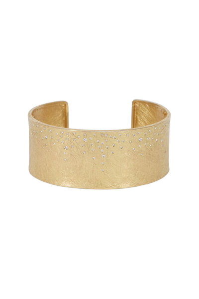 Todd Reed - Yellow Gold Scattered Diamond Cuff Bracelet