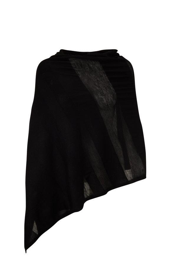 Kinross Black Worsted Cashmere Shadow Stripe Wrap