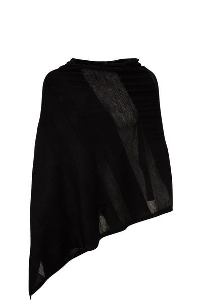 Kinross - Black Worsted Cashmere Shadow Stripe Wrap